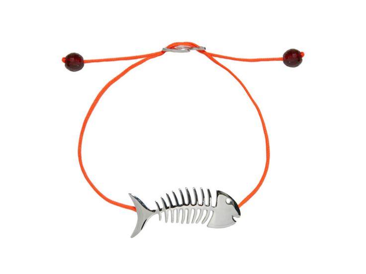 BRACCIALE FISHBONE ARGENTO 925 PLACCATURA ORO BIANCO COLORE FILATO: ARANCIO FLUO PIETRE: GRANATO