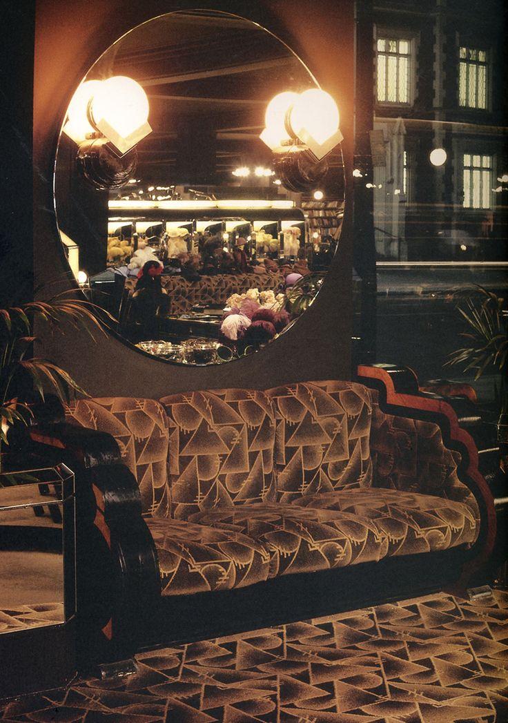 Does the carpet match the drapes? Sofa setup at Big Biba.