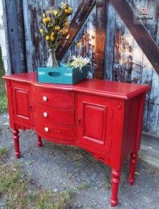 Primitive Red Buffet by FunCycled   funcycled.com: Buffets Mi Favorite, Color, Primitive Style, Americana Primitive, Primitive Country, Rustic Primitive, Primitive Red, Red Buffet
