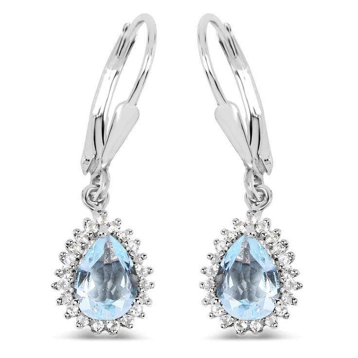 Malaika 0.925 Sterling Silver 1.51-carat Genuine Aquamarine and White Topaz Earrings, Women's