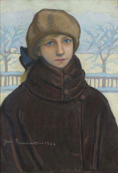 Portret Kazimiery Nehring w zimowym pejzażu - Jan Rembowski
