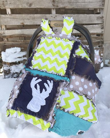 CAR SEAT Canopy and Baby Blanket With Deer Silhouette in Grey, Lime Green, Navy