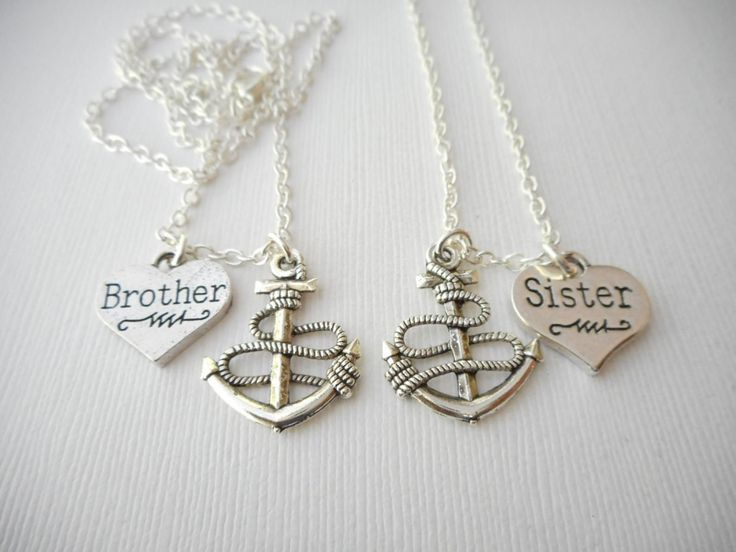 2 brother sister anchor best friend necklaces sister