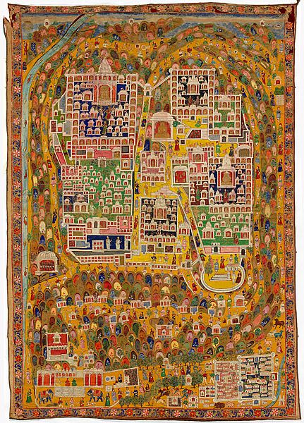 Map of Jain sacred site Shatrunjaya; pilgrimage painting [tirtha pata]