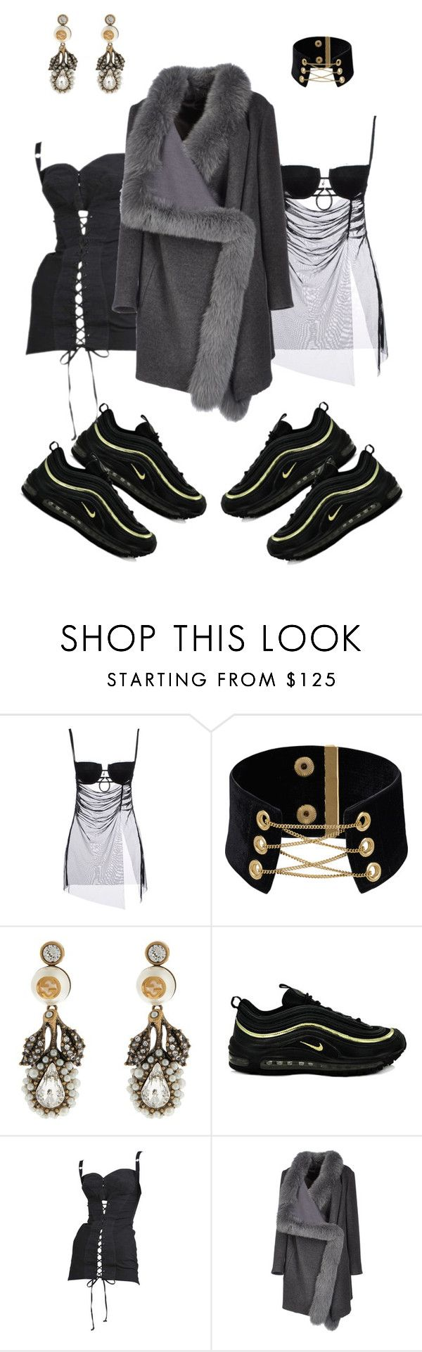 """when you only have two dark sides"" by astrro on Polyvore featuring John Richmond, Gucci, NIKE, Jean-Paul Gaultier and 32 Paradis Sprung Frères"