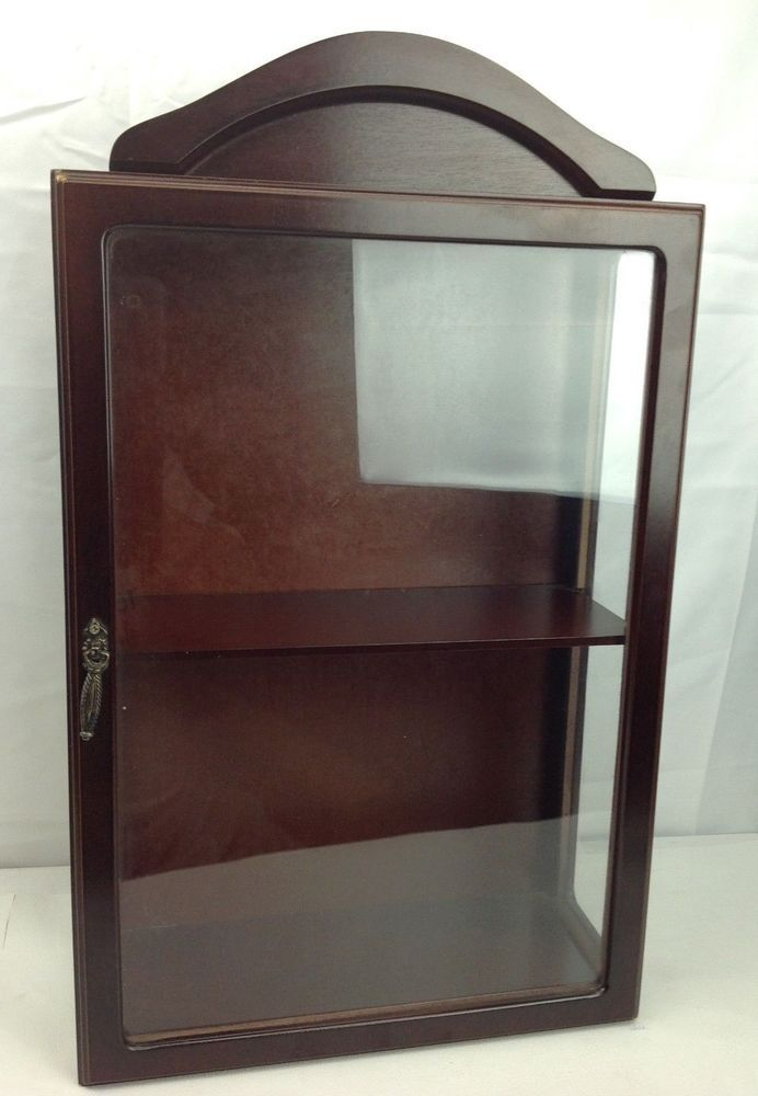 Dark Wood Tone Wall Curio Cabinet Miniature Shelf Mount Display Case Unknown