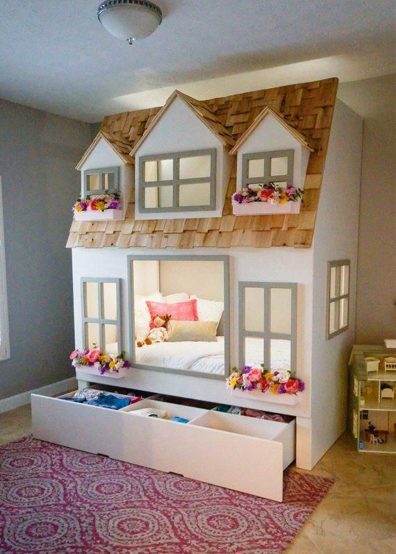 Mia S Country Cottage Bed Loft Bunk Bed Dollhouse Or Playhouse Optional Trundle Slide W Storage Staircase W Storage Or Ladder Cottage Bed Loft Bunk Beds Kid Beds