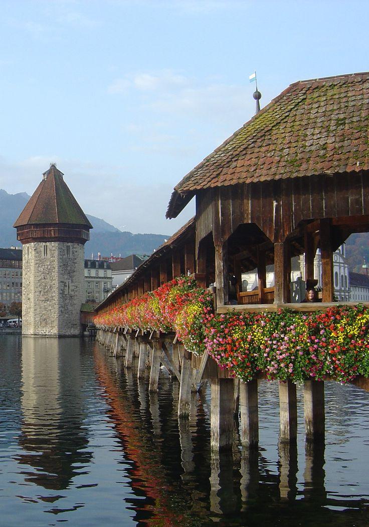 Switzerland, Lucerne, Chapel Bridge & Water Tower