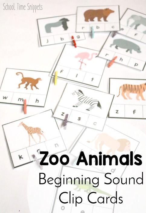 Zoo Animals Beginning Sound Clip Cards *freebie!*
