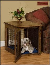 Pinnacle Woodcraft 16MS2734okhr Large Mission Style Dog Crate Oak - Harvest Stain