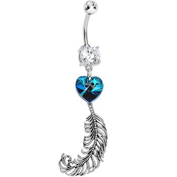 Handcrafted Clear Double Gem Heart and Feather Dangle Belly Ring #piercing #beauty #bodycandy #feather #boho