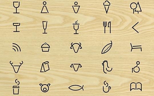 pictogramas-señaletica calados original idea→ http://www.fsd.it/fonts/siruca.htm