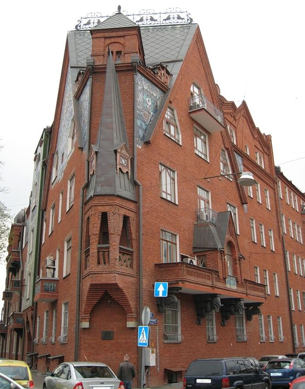 Apartment House of P. N. Pertsova (or, P. N. Pertscov). Sergey Vasilyevich Malyutin (1859 - 1937) was a Russian painter, designer, illustrator and architect - initially associated with the Arts and Crafts Movement.  С.В.Малютин. Дом П.Н.Перцова. 1905-1906