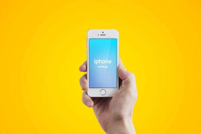 High-res Iphone mockup with isolated hand. Easily change background and add…