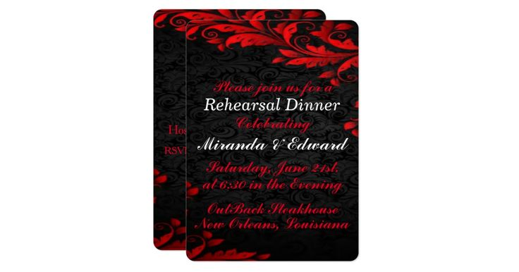 """Having a formal fall wedding, this is a black damask background with a layer of glowing red leaves in red and white elegant typography...In the """" Glowing Red Leaves Wedding """" you will find, wedding invitations, RSVP Postcard, thank you postcard, table number card, will you be my bridesmaid card, rehearsal dinner invitations, save the date postage stamps, bridal shower card, men's wedding tie, Keepsake gifts and more.. Need this design on a different product, ask the designer Wed..."""