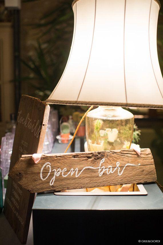 Cartello Open bar personalizzabile / Insegna matrimonio in legno antico con scritta calligrafica