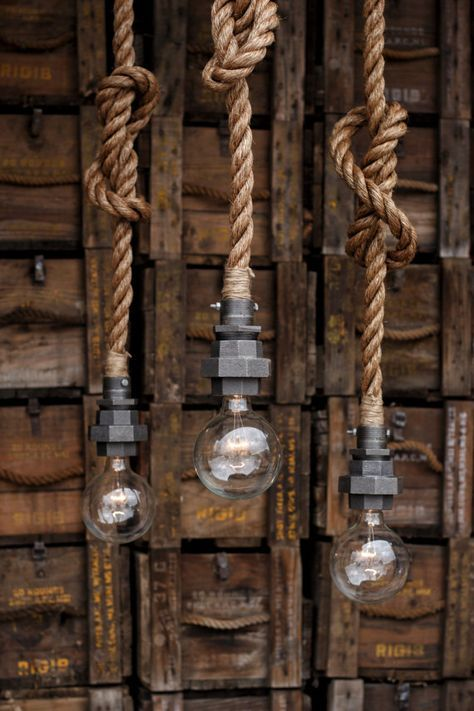 The Machina Industrial Pipe Rope Pendant Light Caged