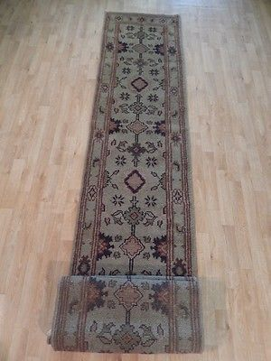 CLEARANCE SALE Gray Rug 2' 6'' x 20' Runner Handmade Traditional Mahal