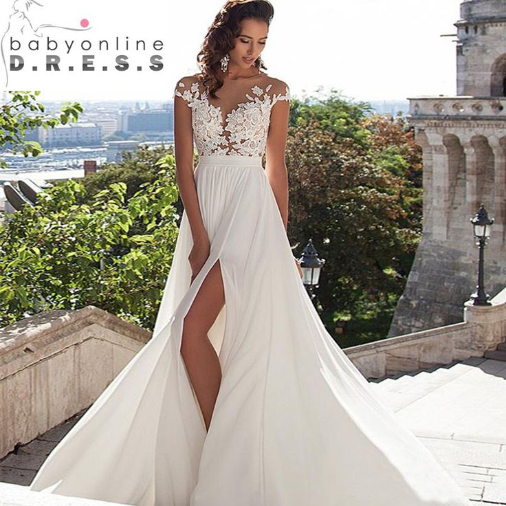 Real Picture Beach modest Wedding Dresses 2017 Chiffon Appliques Lace Wedding Gowns Zipper-Up Court Train Vestidos De Novia