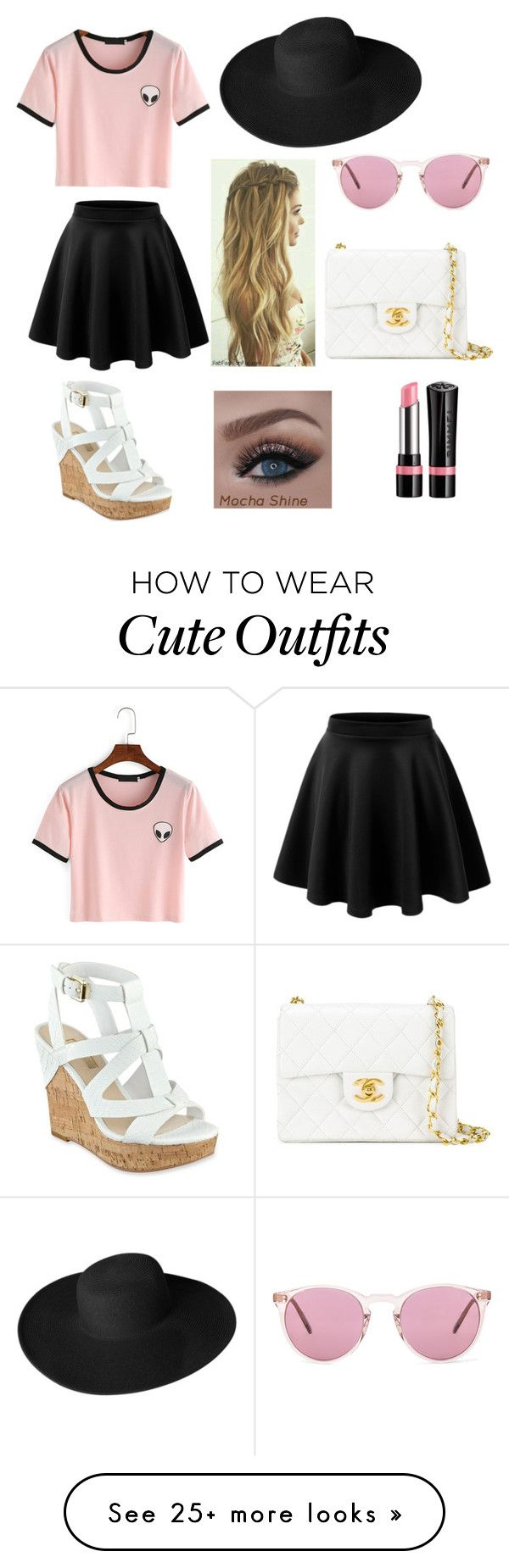 """""""Simple let Yet Cute Outfit"""" by swim1mer on Polyvore featuring GUESS, Dorfman Pacific, Oliver Peoples, Chanel and Rimmel"""
