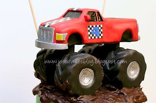 Step by step directions to make a Monster truck out of rice crispy treats (Cake topper)