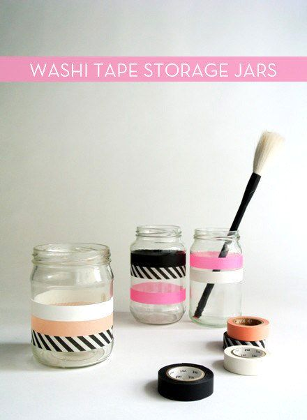 Any old jar can become stylish storage with some Washi tape magic. | 33 Impossibly Cute DIYs You Can Make With Things From Your Recycling Bin