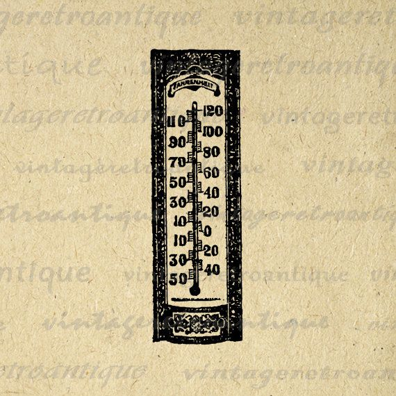 Printable Antique Thermometer Digital Graphic Illustration Download Image Vintage Clip Art. Printable high resolution digital graphic from vintage artwork. This vintage digital artwork is great for transfers, printing, papercrafts, t-shirts, tea towels, pillows, and many other uses. For personal or commercial use. This graphic is high quality, large at 8½ x 11 inches. A Transparent background png version is included.