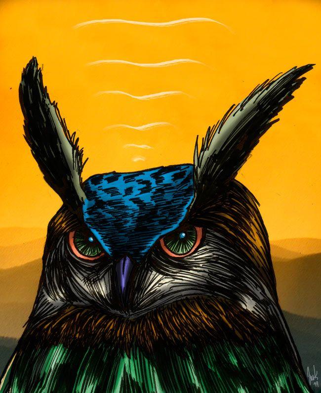 """""""Color Owl"""" (2014). Ink + Digital Paint. 27 x 34 cms.   Joaquin Maldonado   obrasdemaldok.com   #owl #owllife"""