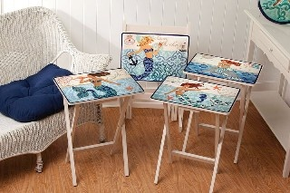 Set of 4 Sirens of the Sea TV Trays with Stand