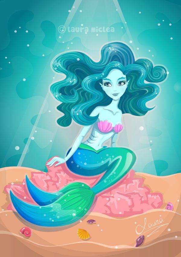 Blue Mermaid by Laura Miclea, via Behance