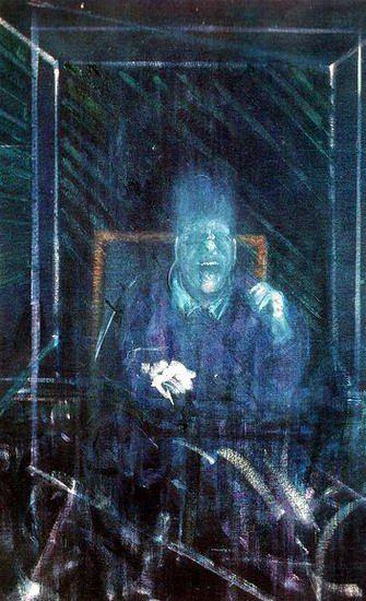 Francis Bacon, Study for a Pope  Algo así, en una cabaña en el campo.