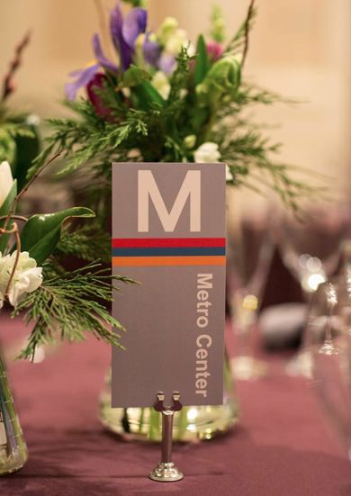 Metro-themed table numbers. Washington DC wedding. Hummingbird Bridal and Events