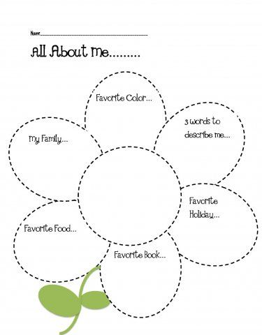 All About Me Craft for Classroom Activity- use construction paper circles instead of the worksheet