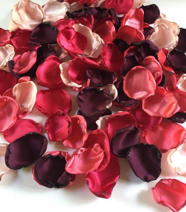 Marsala Maroon, blush tea stained pink, coral and red mix of flower petals, rose petals, table decor, flower girl petals, wedding decor