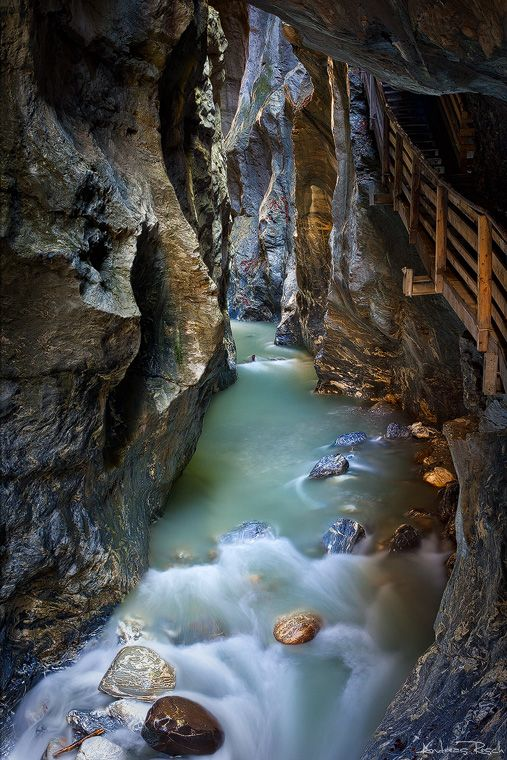 Liechtensteinklamm - the deepest (1,000 feet), narrowest (12½ feet), and most spectacular gorge in the Eastern Alps.