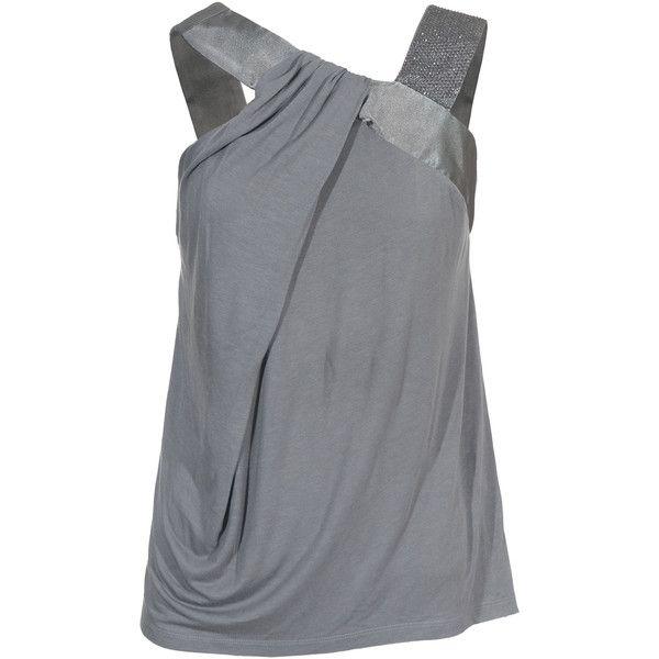 Amor&Psyche Satin Grey Star Embellished Top, found on polyvore.com