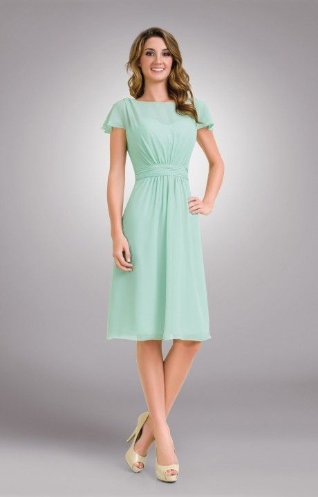 1672 Short chiffon modest bridesmaids dress with sleeves #ModestBridesmaidsDresses