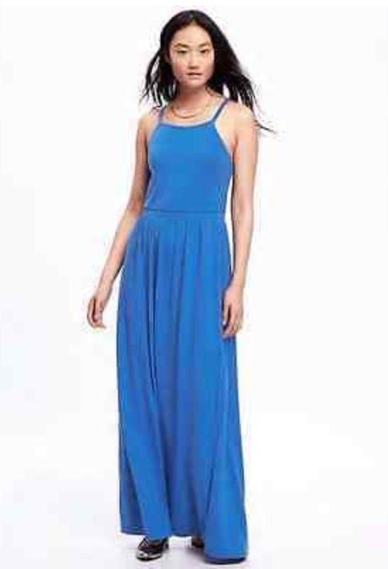 3aa5a5eeae5 Old Navy Womens Jersey Maxi Dress Size Medium Blue High Neck Racerback  Summer