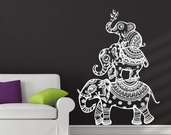 Elephant Wall Decal Indian Boho Bedding Yoga Studio Decor Etsy