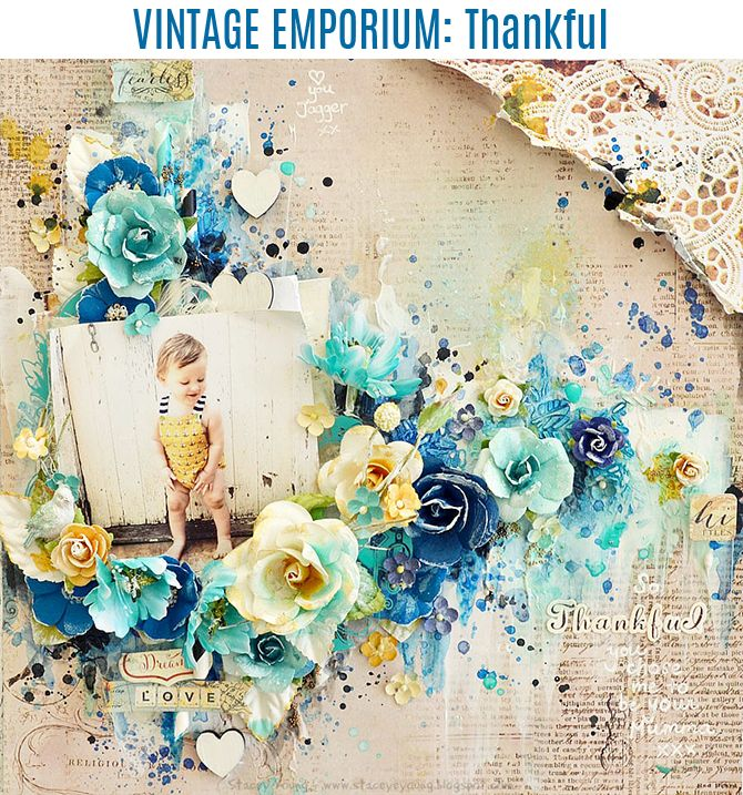 """Hi there, Stacey here today sharing  a new layout page.  I really love the Vintage Emporium papers, they are just so perfect for backgrounds of layouts.  They have a lovely vintage feel to them.  I really wanted to add blues into this collection, I wasn't sure how well it would match but I think it turned out great!  I kept a little bit of the mustard colour in my embellishments and sweet little Jagger's picture to keep in with the collection.  I just loved the stickers from the collection…"