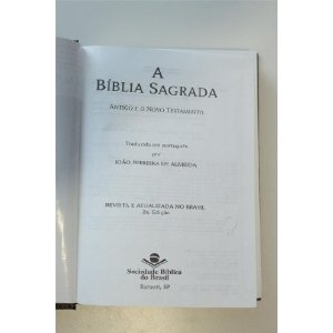 Portugese Bible with Golden Edges Printed in Brasil / A Biblia Sagrada / Antigo E O Novo Testamento / Joao Ferreira De Almeida / Revista E Atualizada No Brasil 2a. Edicao / RA043M  $59.99