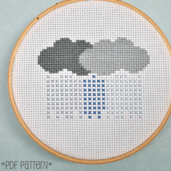 Rain Clouds Cross Stitch Pattern Download, sent by email. $4.00, via Etsy.