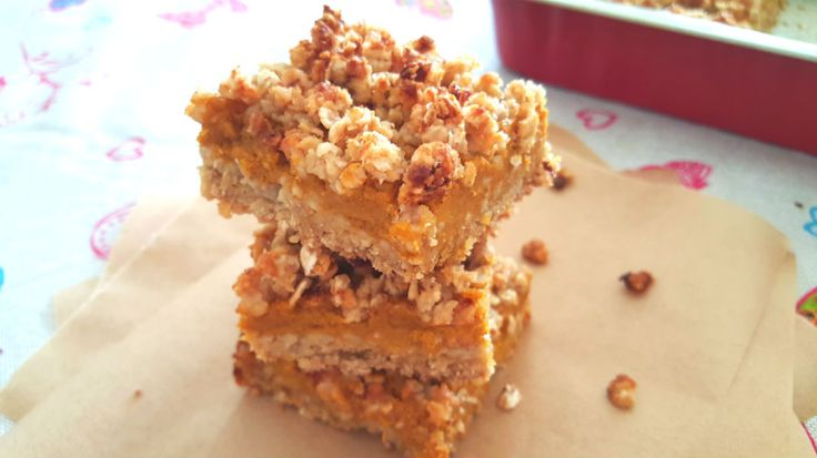 Healthy Pumpkin Crumble Bars - One Fool Pie