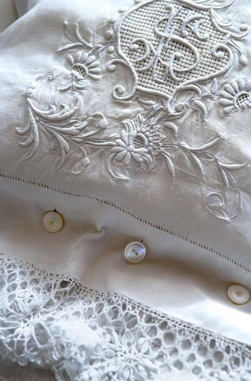 White on white embroidery.