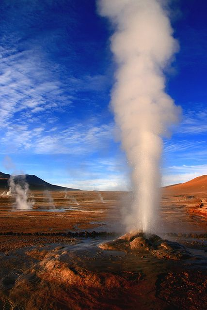 El Tatio  Chile, 1997, the highest point in the world I ever reached, in great spirits with my cheerful hubbie ;)