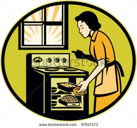 Illustration of a housewife woman baker wearing apron baking in stove oven with window done in retro style. - stock vector #mother #retro #illustration