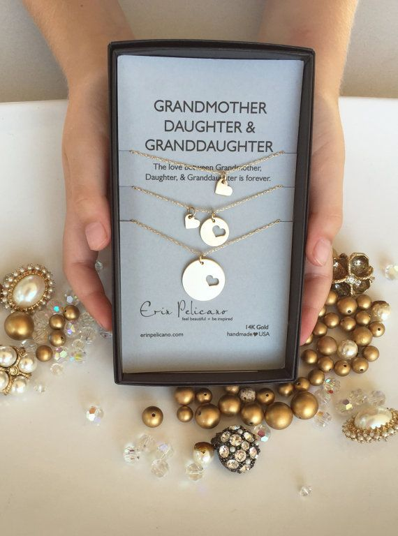 14k Gold Grandmother Necklace, Mother Daughter Jewelry Set. Fine Jewelry. Daughter Necklace. Gift for Mom. Gift for Grandma. Granddaughter