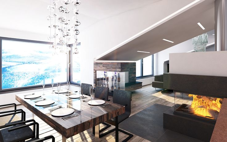 Jídelní stůl jsme navrhli v podobě dřevěné masivní desky, která je nesena dvěma nerezovými podnožemi. Pro lepší odolnost bude na desku položeno tvrzené sklo.