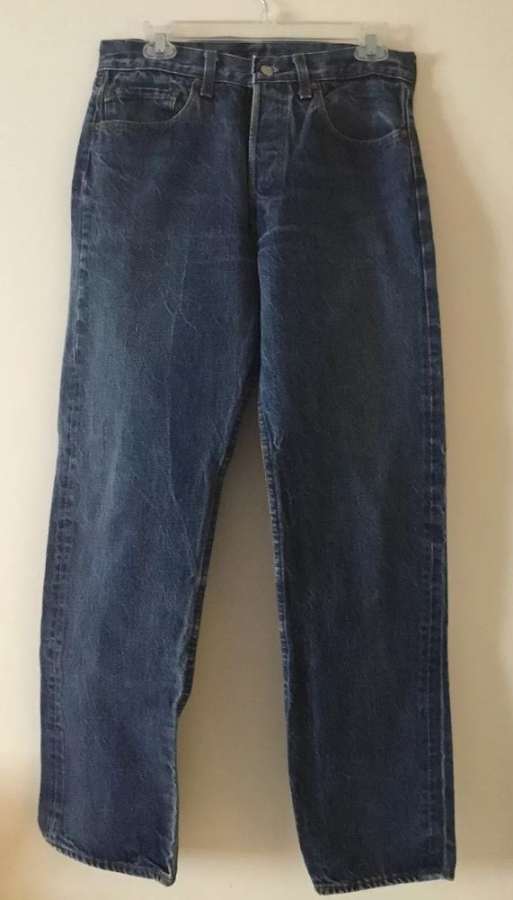 9526a661190 VINTAGE MENS LEVIS 501 Blue Denim Jeans Size 30x30 (measured) Red Tag Button  Fly