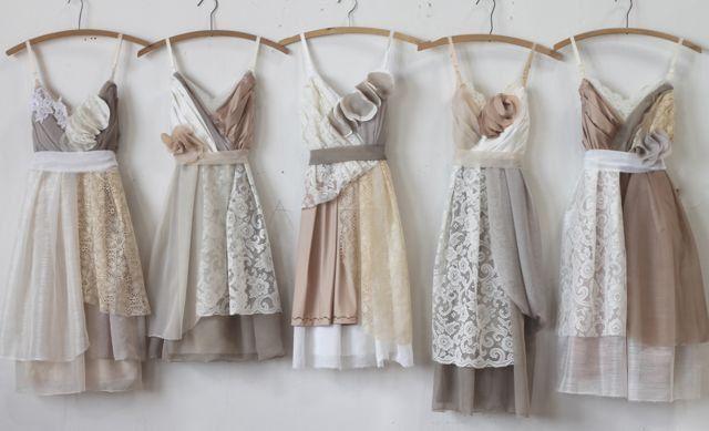 Custom Neutral Grey and Tan Bridesmaids Dresses by ArmoursansAnguish on Etsy